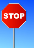 red stop sign against brilliant blue sky  poster