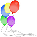 brightly colored balloons with strings attached  poster