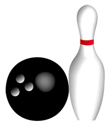 ten pin bowling ball and pin