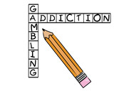 pencil filling in crossword - gambling and addiction  poster