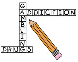 pencil filling in crossword - gambling addiction and drugs  poster