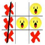 tic tac toe game with angry smiley face losing  poster