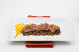 gourmet plate meat with lentil poster