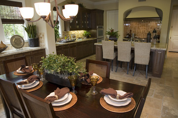 Breakfast table and luxury home kitchen.