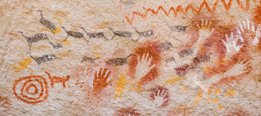 Ancient cave paintings in Patagonia, Argentina..
