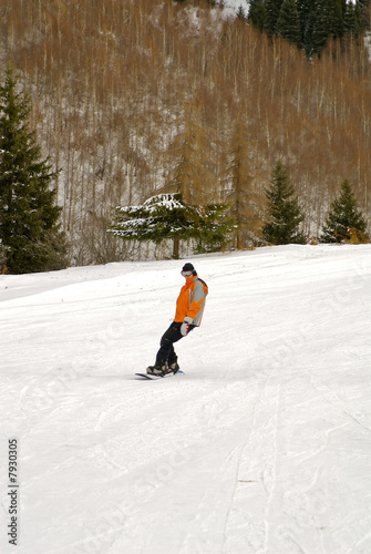 Girl going on a snowboard
