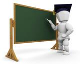 Teacher at blackboard poster