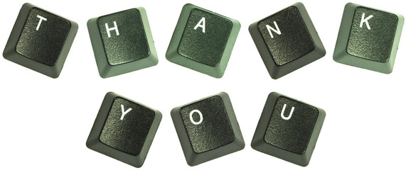 "Keyboard keys spelling out the words ""Thank You"""