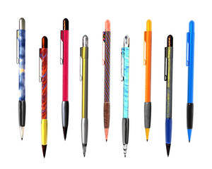 9 colorful pen isolated on white background