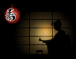Geisha silhouette with sake behind shoji and paper lantern