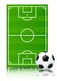 Terrain et ballon de football (reflet) poster
