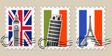 Three Postmarks with sights of Europe and stamps poster
