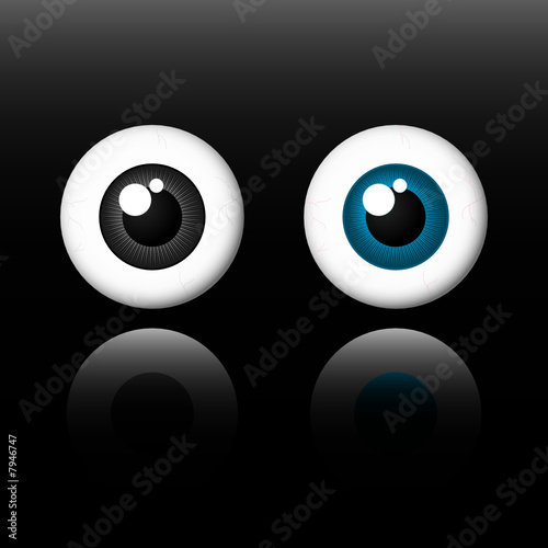 Eyes on black background - vector