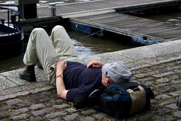 man taking nap