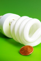 light bulb and penny, closeup on green background