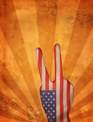 4th of July illustration over grunge background
