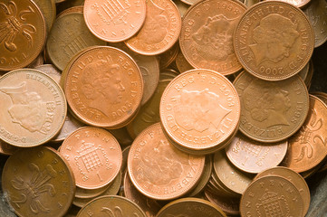 Penny and 2 pence coins