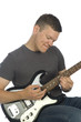 guitarist playing on white