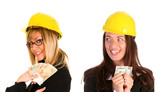 two businesswoman with with earnings poster
