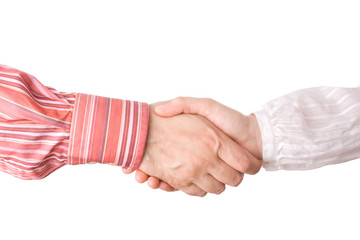Man and woman giving a handshake isolated on white background.