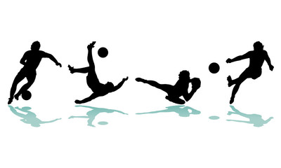 4 silhouettes football soccer player
