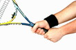 woman's hand holding tennis racket isolated