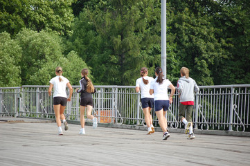 Hurrying girls