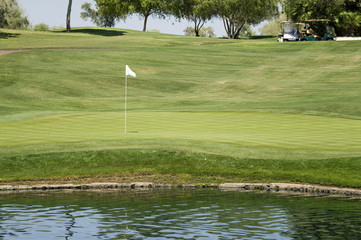 Beautiful 18th hole at luxury golf course resort