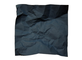 Isolated crumpled blue paper