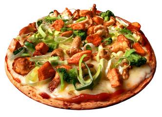 Pizza, lauch, pilzen, champignons, chiken