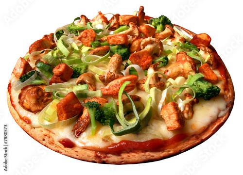 Pizza, lauch, pilzen, pieczarki, chiken