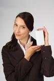 Businesswoman - Salesman - selling a box poster