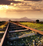 landscape for a old railway abandoned at the sunset - 7985961