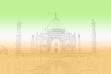 Taj Mahal outline overcast by the colours of an Indian Flag. poster