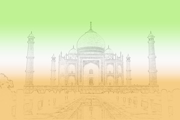 Taj Mahal outline overcast by the colours of an Indian Flag.