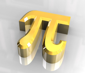 pi symbol in gold (3d)