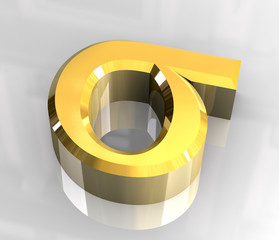 Sigma symbol in gold (3d)