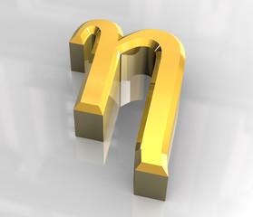 Eta symbol in gold (3d)