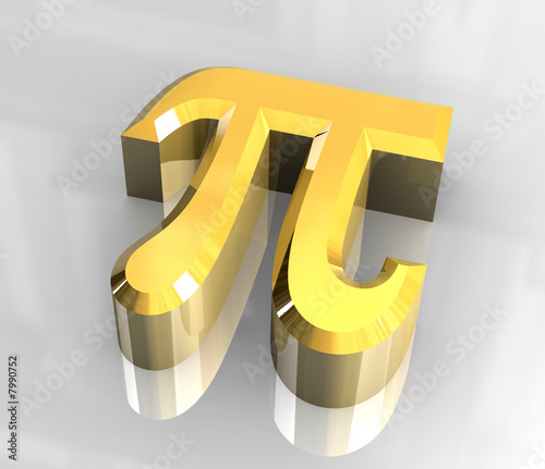 pi symbol in gold (3d)