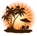Fototapety Sunset, beach, palm, chairs and umbrella