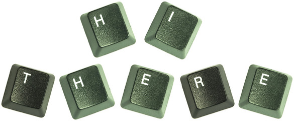 """Keyboard keys spelling out the words """"Hi ther"""""""