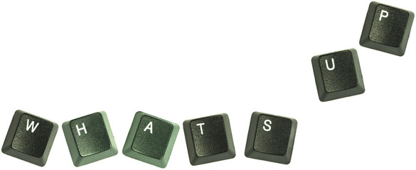 "Keyboard keys spelling out the words ""Whats up""."
