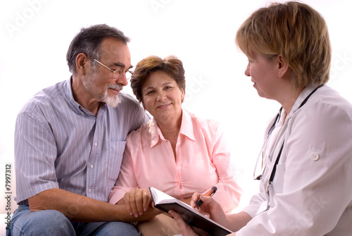 A senior couple visiting a doctor