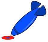 blue dart hitting red and blue bullseye poster