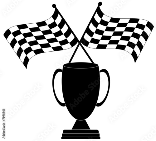 two crossed checkered flags with trophy - winner