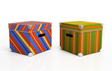 Multicolored cardboard boxes isolated on background poster
