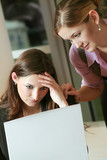 young frustrated business woman consoling by her colleague poster