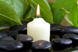 Fototapety Pebbles, fresh leaves and candle. Time to relax.