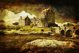 Castle in distressed vintage style