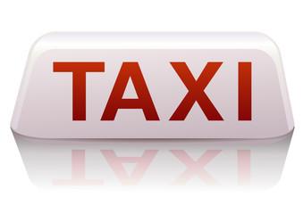 Enseigne de taxi blanc et rouge France (reflet)